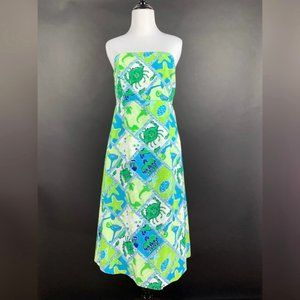 Lilly Pulitzer Sabrina Dress Strapless Turtle Crab